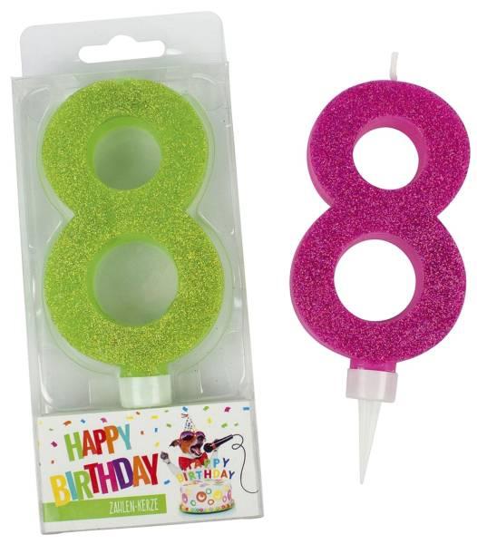 TRENDHAUS Geburtstagskerze Zahl 8 sort. 942067 Maxi Glitter
