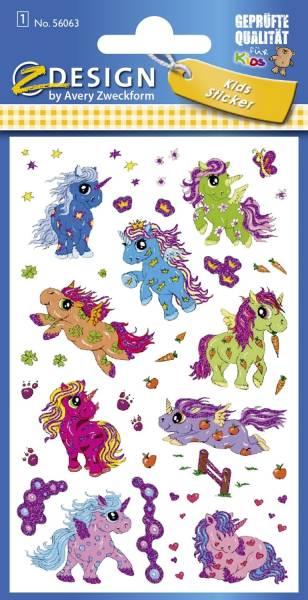 Z Design 56063, Glitter Sticker, Einhorn, 1 Bogen 15 Sticker