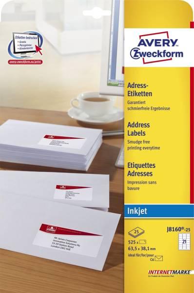 J8160 25 Adress Etiketten (A4, Papier matt, 525 Stück, 63,5 x 38,1 mm) 25 Blatt weiß