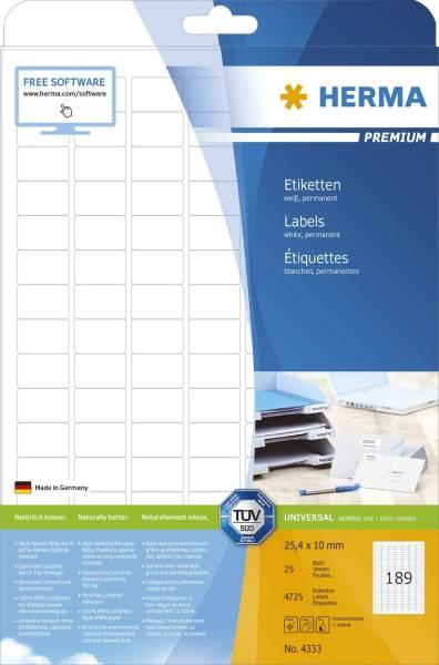 HERMA Etiketten Premium 25,4x10mm weiß 4333 4725 St. permanent haftend