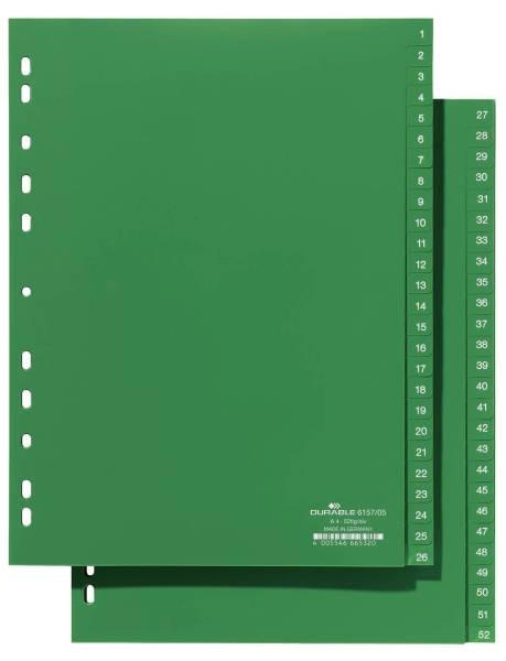 Zahlenregister Hartfolie, 1 52, grün, A4, 52 Blatt