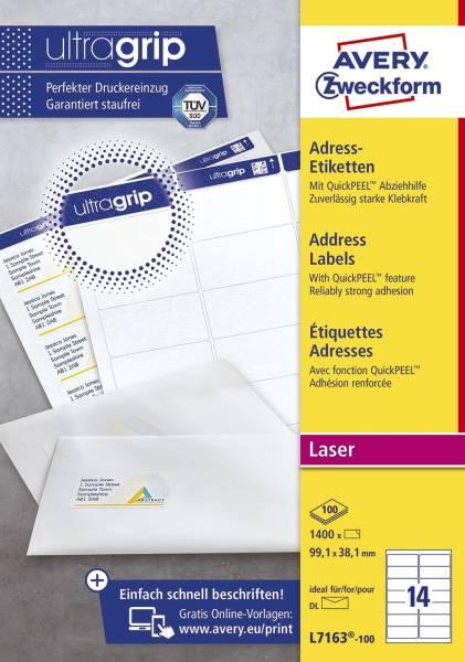 L7163 100 Adress Etiketten 99,1 x 38,1 mm, weiß, 1 400 Etiketten 100 Blatt, permanent, für DIN lang