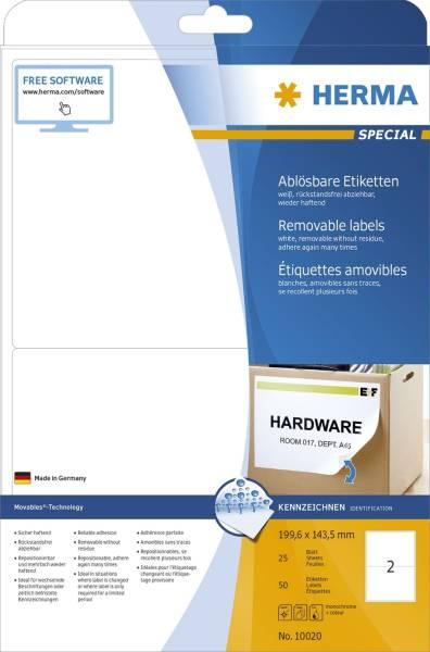 10020 Etiketten A4 weiß 199,6x143,5 mm Movables ablösbar Papier matt 50 St