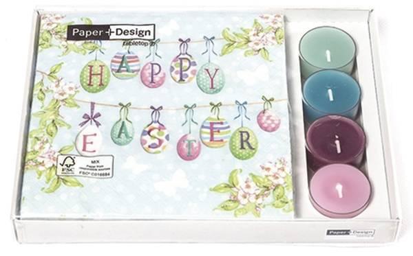 PAPER+DESIGN Kombibox Servietten mit Teelicht Easter KB-200405