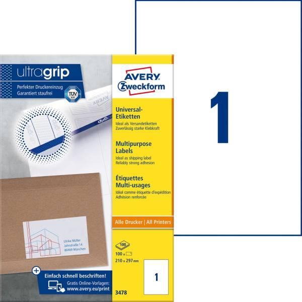 3478 Universal Etiketten (A4, Papier matt, 100 Etiketten, 210 x 297 mm) 100 Blatt weiß
