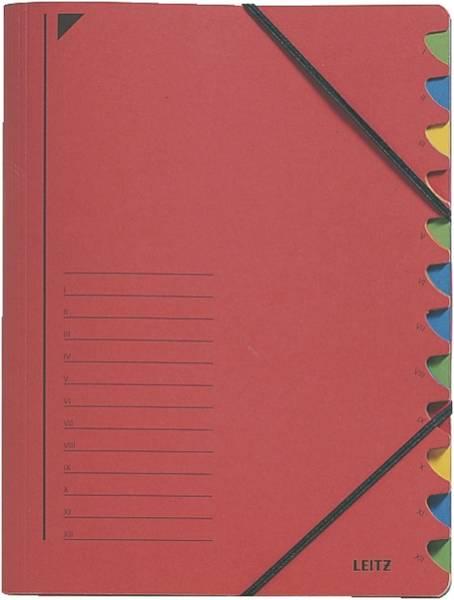 3912 Ordnungsmappe 12 Fächer, A4, Pendarec Karton (RC), 430 g qm, rot