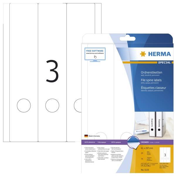 HERMA Ordneretikett 61x297 mm weiß 75 Stück 5135 breit/lang permanent haftend