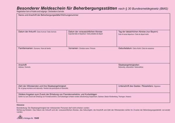 RNK Fremdenmeldeblock A5 1649 neutral/Rheinland-Pf.