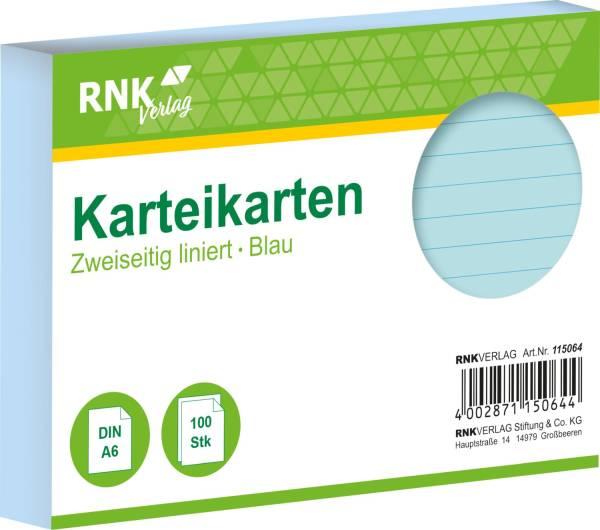 RNK Karteikarte A6 100 ST blau 115064 liniert