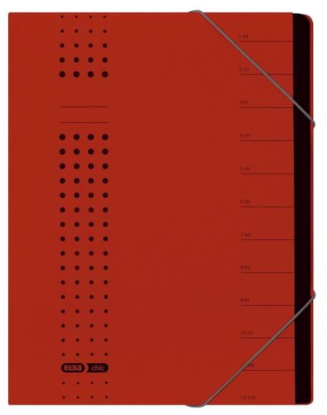 Ordnungsmappe chic, Karton (RC), 450 g qm, A4, 12 Fächer, rot
