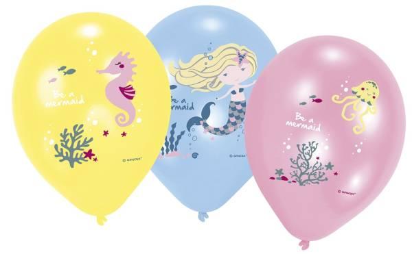 Luftballon 6ST sort. 903039 Be a Mermaid