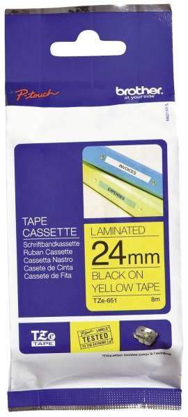 TZe 651 Schriftbandkassette laminiert, 24 mm x 8 m, schwarz auf gelb