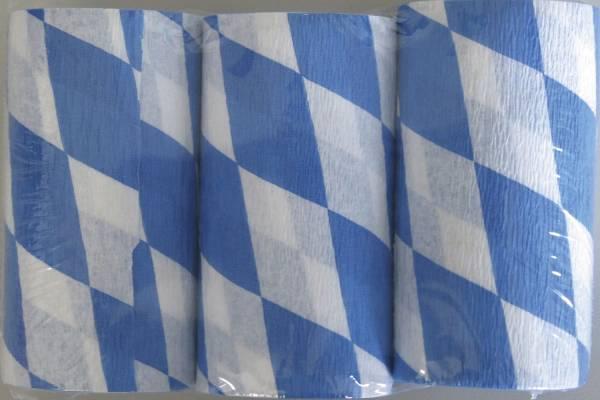 Krepppapier Original Niflamo 10 cm x 10 m, weiß blau Rauten
