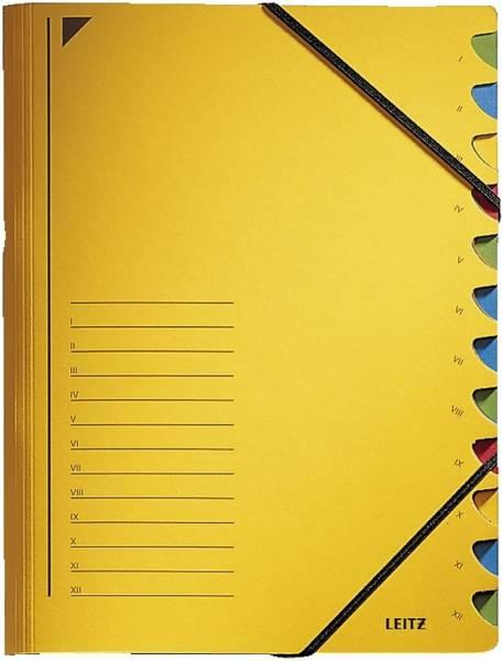 3912 Ordnungsmappe 12 Fächer, A4, Pendarec Karton (RC), 430 g qm, gelb