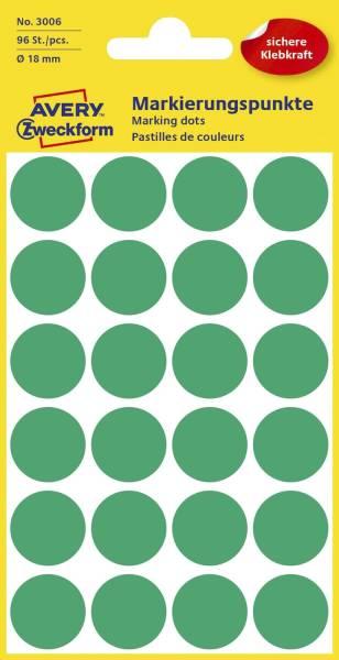 3006 Markierungspunkte Ø 18 mm, 4 Blatt 96 Etiketten, grün