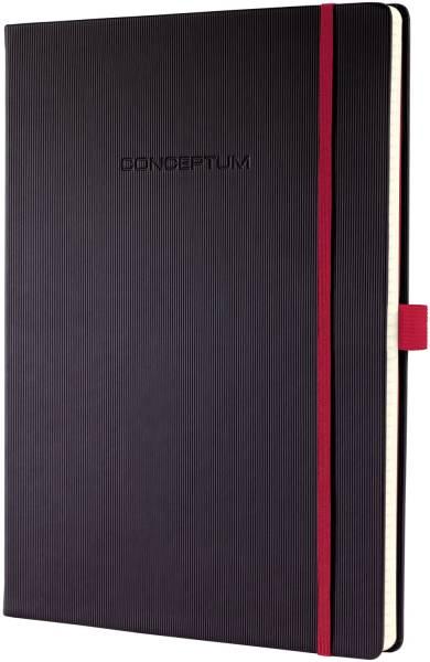 Notizbuch Red Edition ca A4, kariert, schwarz, Hardcover®