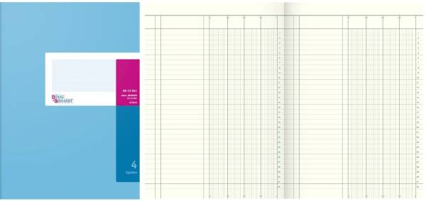 Spaltenbuch mit festem Kopf Größe: A4, 4 Spalten, 40 Blatt