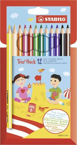 Dreikant Buntstift Trio dick, Kunststoffetui mit 12 Stiften®