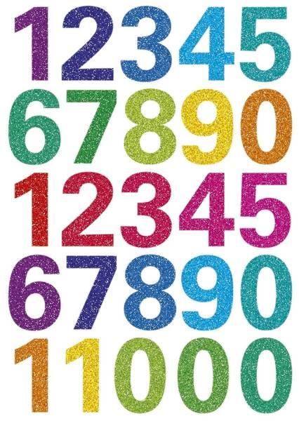 3279 Schmucketikett MAGIC Zahlen 25 Stück, bunt, gittery