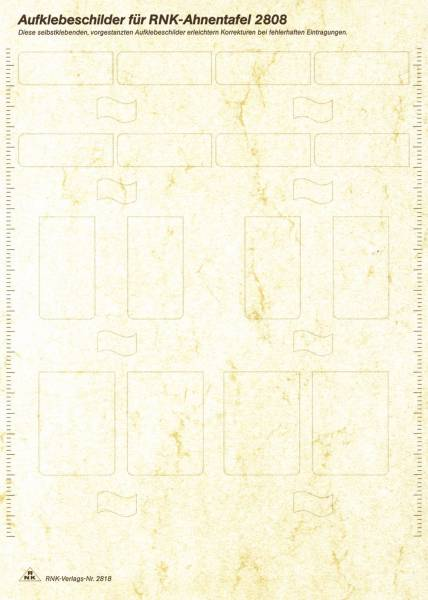 RNK Etikettenbl. f.Ahnentafel 2818