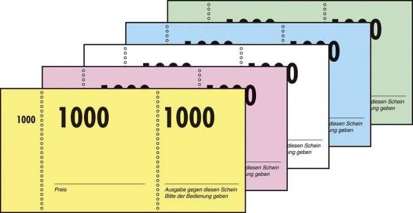 Nummernblock 1 1000, 5 farbig sortiert, 105x50 mm, 10 x 100 Blatt