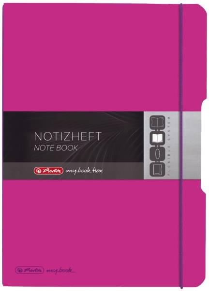 Notizheft flex PP A4, liniert kariert, 2x 40 Blatt, pink