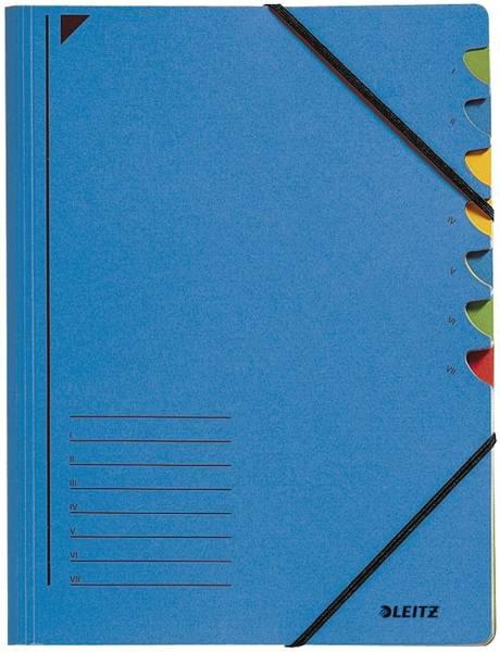 3907 Ordnungsmappe, 7 Fächer, Colorspankarton, blau