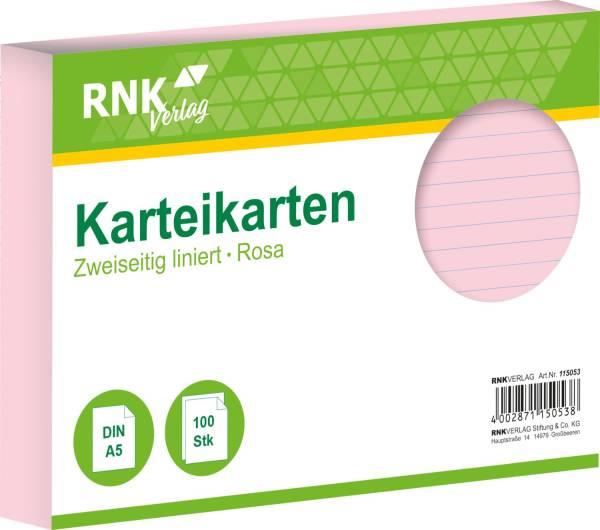 Karteikarten DIN A5, liniert, rosa, 100 Karten
