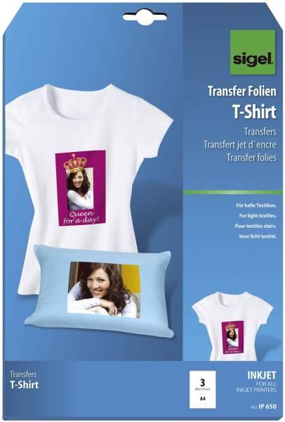 InkJet Transfer Folien für T Shirts, für helle Textilien, 3 Folien