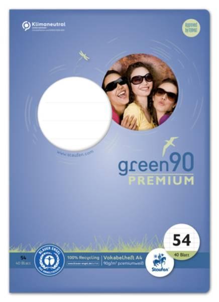 STAUFEN GREEN Vokabelheft LIN54 A4 40 Blatt liniert 040787054 mit 2 MST 90g