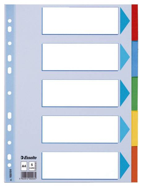 Register blanko, Karton, A4, 5 Blatt, weiß, farbige Taben