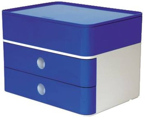 SMART BOX PLUS ALLISON Schubladenbox mit Utensilienbox stapelbar, 2 Laden, weiß blau