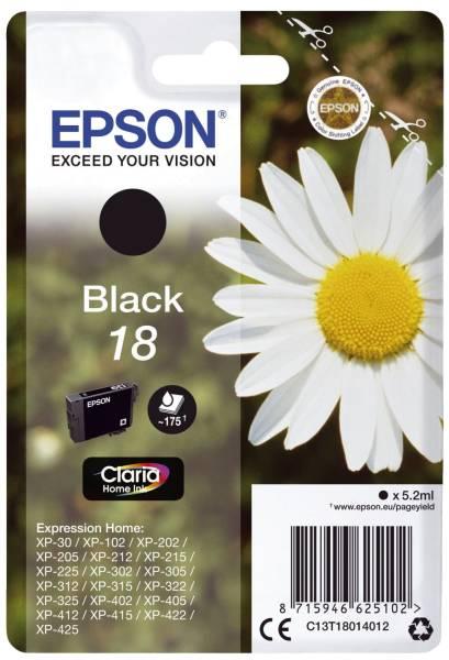 EPSON Inkjetpatrone Nr. 18 schwarz C13T18014012 5,2ml