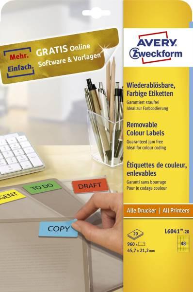 L6041 20 Farbige Etiketten, wiederablösbar, 45,7 x 21,2 mm, 20 Blatt 960 Etiketten, gelb