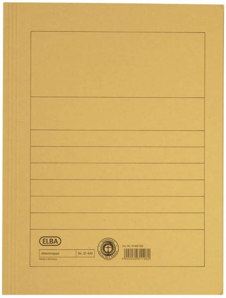 Aktenmappe, Manilakarton (RC), 250 g qm, A4, 15 mm, gelb