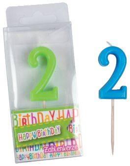 TRENDHAUS Geburtstagskerze Zahl 2 sort. 935946 Happy Birthday