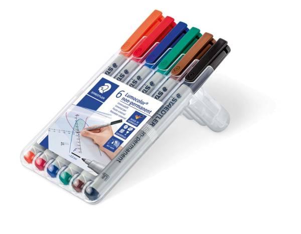 STAEDTLER Folienstift Lumocolor F 6 Farben sort. 316 WP6 nonperm.