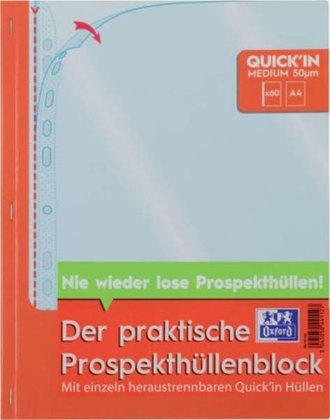OXFORD Prospekthüllenblock 60 Stück farblos 400143153 Economy Quick