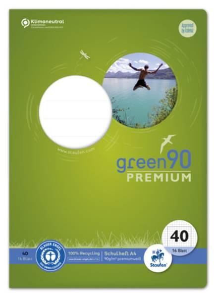 STAUFEN GREEN Heft LIN40 A4 16 Blatt 5mm kariert 040782040 Umrandung 90g