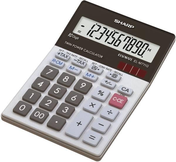 Tischrechner EL M711G, Batterie Solar, 100 x 151,5 x 33 mm, schwarz weiß