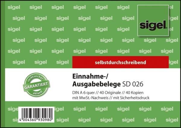 Ausgabe Einnahmebelege mit Sicherheitsdruck A6 quer, 1 und 2 Blatt bedruckt, SD, MP, 2 x 40 Blatt
