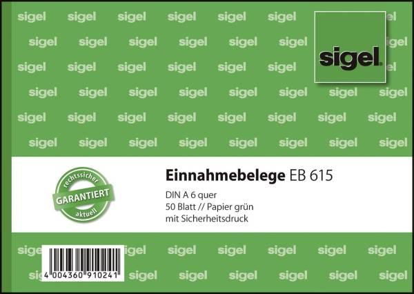Einnahmebelege A6 quer, Papier grün, mit Sicherheitsdruck, 50 Blatt