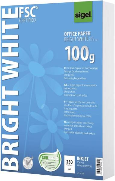 Office Papier BRIGHT WHITE, ultraweiß, 100 g qm, A4, 250 Blatt