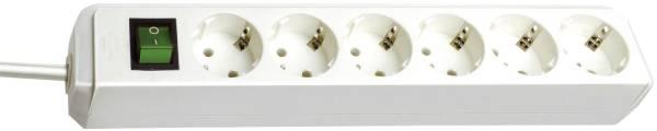 Steckdosenleiste 6 fach mit Schalter, weiß