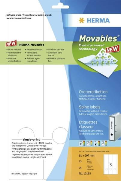 HERMA Ordneretikett Movables 61x297mm weiß 10185 breit/lang ablösbar 75 St.
