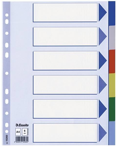 Register blanko, A4, PP, 6 teilig + Deckblatt, farbig