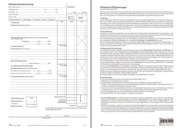 Reisekostenabrechnung Block, 30 Blatt, DIN A4