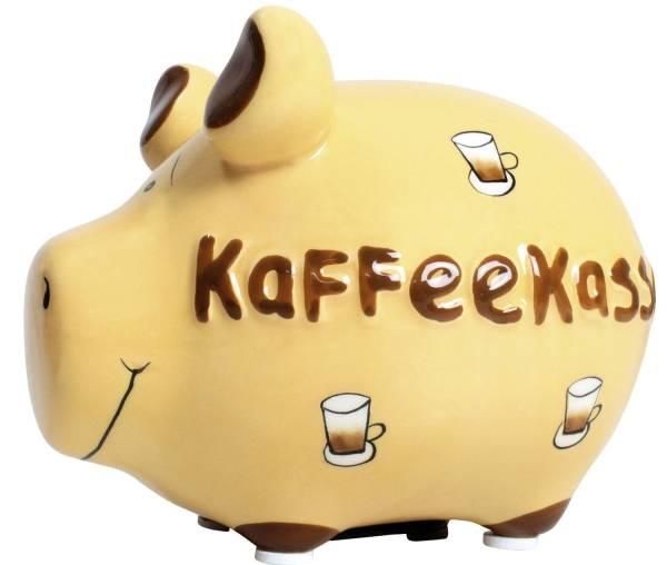"""Spardose Schwein """"Kaffeekasse"""" Keramik, klein"""