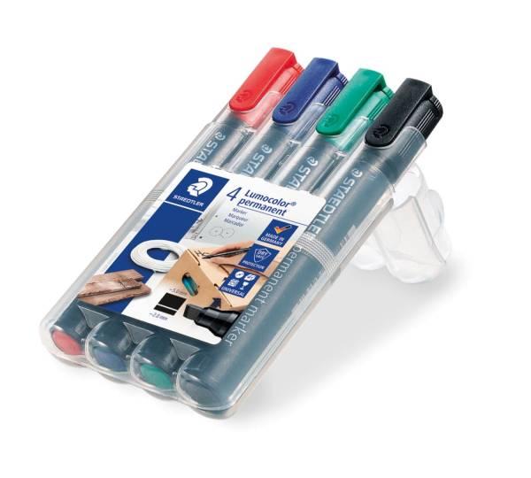 Permanentmarker Lumocolor 350, nachfüllbar, Box mit 4 Farben®