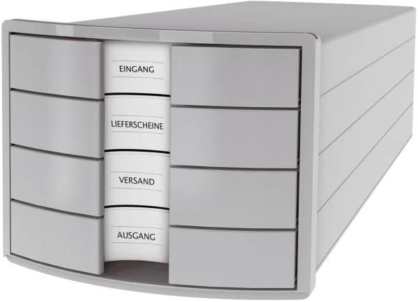Schubladenbox IMPULS A4 C4, 4 geschlossene Schubladen, lichtgrau